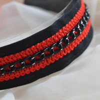 Chained - Black and red dark gothic metal witch choker with black chain sewn on it - lolita kitten pet play collar