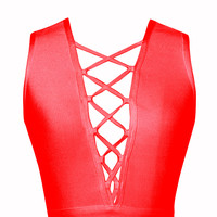 Libby Red Lace Up Detail Bandage Crop Top