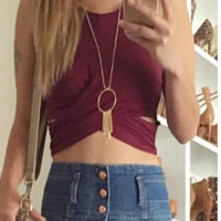Crossed Paths Crop Top - Wine