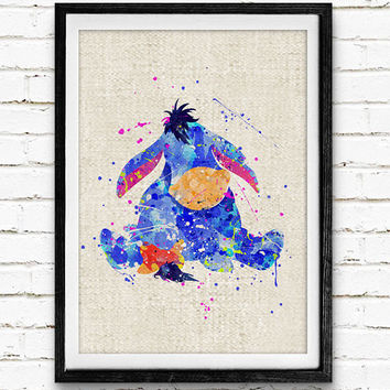 Winnie the Pooh Watercolor Art Print, Eor Watercolor Poster, Disney Wall Art, Home Decor, Not Framed, Buy 2 Get 1 Free
