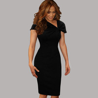 Fashion Free Shipping Women Dress Elegant Business Casual Wear To Work Party Stretch Sleeveless Bodycon 013