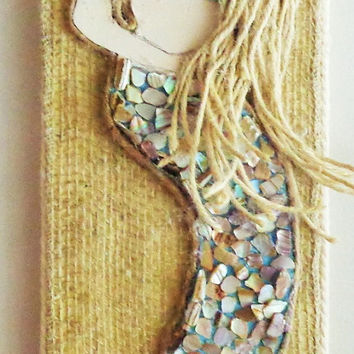 Mermaid Artwork- Original Mixed Media On Wood- Blonde Hair- Blue Eyes- Beach Decor 6X25 inches