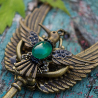 Agate winged steampunk bird key necklake,statement pendant,agate jewelry,Skeleton key,Fantasy pendant,Winged pendant,for gift OOAK