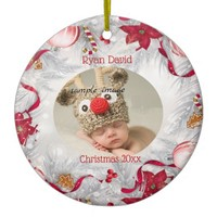 Christmas, Red and Whte, Custom Ceramic Ornament