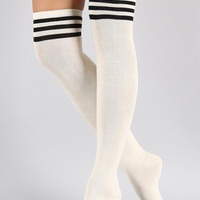 Sparkling Triple Stripe Thigh High Socks