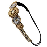 Gold and Silver Seed Bead Headband