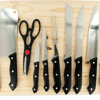 chef knife set with wooden cutting board