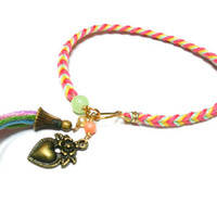 Braided fishtail friendship bracelets - tassel pastel mint coral yellow floss gold plated wire heart charm coral beads valentine's day