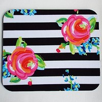 black white stripes roses - Mouse Pad mousepad / Mat - rectangle - floral - Computer Accessories Geekery Custom Desk Coworker Gifts Office Gifts
