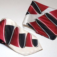 Matching Tie and Pocket Square,Vintage Silk Tie,Italian Silk Pocket Square,Off White,Red and Black Abstract Tie,SALIARI Made in Italy