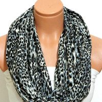 leopard Pattern Gray infinity Scarf,Loop Scarf,Circle Scarf,Leopard Pattern cotton,lycra  fabric Scarf,Cowl Scarf,Grey, Leopard Pattern,