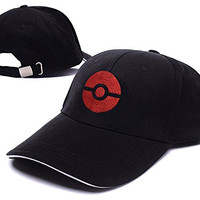 Subtle Pokeball Pokemon Logo Adjustable Baseball Caps Unisex Snapback Embroidery Hats