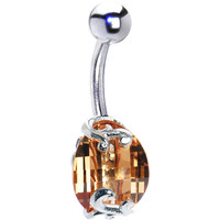 Sterling Silver 925 Champagne Austrian Crystal Scroll Twist Belly Ring   Body Candy Body Jewelry
