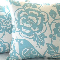 """Robin egg blue and ivory  pillow cover - """"18x18"""" pillow cover"""