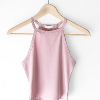 Sleeveless Crop Top - Dusty Mauve