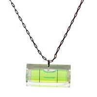 Long level necklace with black chain
