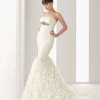 Gorgeous strapless trumpet /mermaid chapel train bridal gowns - Basadress.com