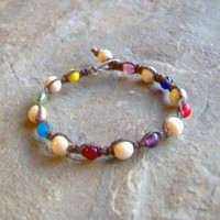 Brown Hemp Bracelet w/ Glass and Wood Beads by KnottyandNiceHemp