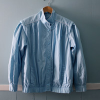 Women's 1980's windbreaker / vintage powder blue spring jacket  / size medium to large