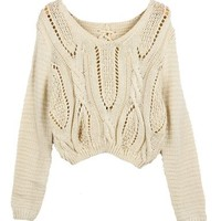 PrettyGuide Women Eyelet Cable Knit Lace Up Crop Long Sleeve Sweater Crop Tops Beige, One Size