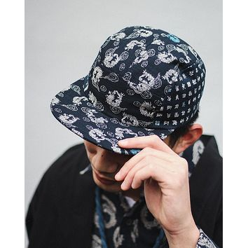 5-Panel Indigo Dragon & Chinese Characters