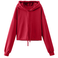 Red Long Sleeve Drawstring Hooded Cropped Sweatshirt