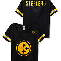 Pittsburgh Steelers Cropped V-Neck Athletic Tee - PINK - Victoria's Secret