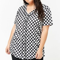 Plus Size Checkered Baseball Jersey