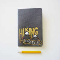 Moleskine pocket journal. Hiking Notes. Hand drawn notebook. Outdoor lover gift. Hiking N.1