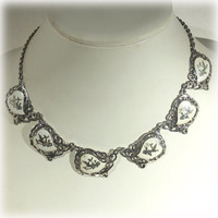 Sterling Necklace, White Choker, Siam Sterling, Dancing Goddess, Heart Necklace, White Necklace