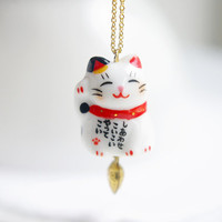 Japanese porcelain fortune cat pendant necklace - with red collar,Ceramic porcelain jewellery,small cute gift,kawaii,for cat lover