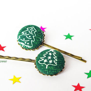 Christmas tree hair pins - Ugly Sweater Party Hair accessories for women - Green hair piece - Winter bobby pins