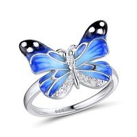 Authentic 925 Sterling Silver Charming Blue Butterfly Ring