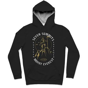 Seven Summits Trendy All-Over Print Solid Nero Hoodie
