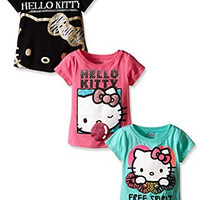 Hello Kitty Toddler Girls' Value Pack Tee Shirts, Black/Rose/Green, 4T