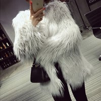 White Shaggy Faux Fur Coat