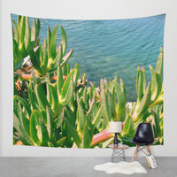 Nature tapestry, ocean tropical tapestry exotic, nautical tapestry coastal large wall decor, green large succulent cactus, California beach