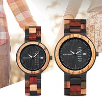 Wood watch Lover Couple Watches Men Show Date Ladies Wristwatch Women