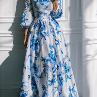 White and Blue Off Shoulder Bird and Floral Print Maxi Dress