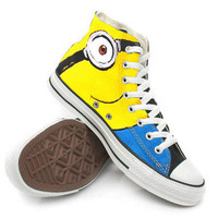 Minions shoes Custom canvas Shoes,High Top,canvas shoes,Painted Shoes,Special Christmas Gift,Birthday gift,Men Shoes,Women Shoes
