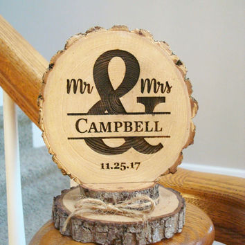 Wedding Cake Topper, Mr & Mrs Cake Topper, Rustic Wood Cake Top, Personalized Cake Topper, Engraved Topper, Wooden Cake Top, Custom Topper