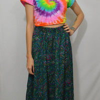 90s Floral Skirt Hippie Gypsy Soft Grunge High Waist Small Womens Vintage Clothing Cute Neon Vivid Pink Green Teal Patterned 1990s