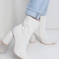 Cape Robbin Velvet Striped Curved Chunky Heel Pointed Toe Zip Up Ankle Booties in Nude, White