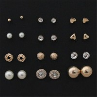 12 pairs Alloy Crystal Stud Earrings
