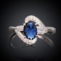 ROMACCI New Fashion Jewelry Korean Lovely Finger Ring Blue Diamond Unique Party Rings For Women Christmas Gift Silver Plated Crystal Ring (Size 8) = 1945710084
