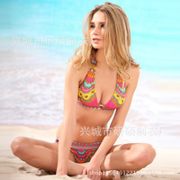 SIMPLE - Floral Triangle Swimwear Bikini Set b491