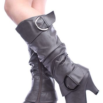 GREY FAUX SCRUNCHED LEATHER BUCKLE STRAP ROUND TOE KNEE HIGH LOW HEEL BOOTS
