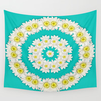 White Daisies on Turquoise Background Wall Tapestry by Lena Photo Art