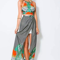 Two-piece Long Slit Floral Printed Strappy Backless Bows Charming Maxi Dress
