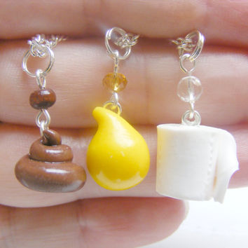 Best friend necklaces, bff jewelry, bff pendants, Poop, pee and toilet paper,poo jewelry, toilet roll, best friend charms bff charms, kawaii